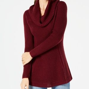 NWT Style & Co Wine Tunic Cowl Neck Sweater Medium